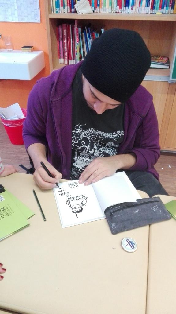 Rudolf Eizenhöfer zeichnet und signiert Horrk und Grablakk