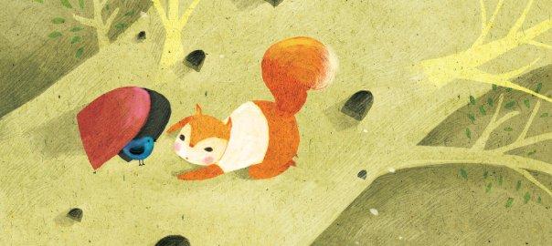 Ein Eichhörnchen redet mit einem Vogel. Illustration von Nguyễn Thị Ngọc Bích, CC-BY