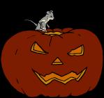 Eine Maus späht in einen ausgehölten Kürbis mit Halloween-Fratze. Bild von Ret Samys, 2020