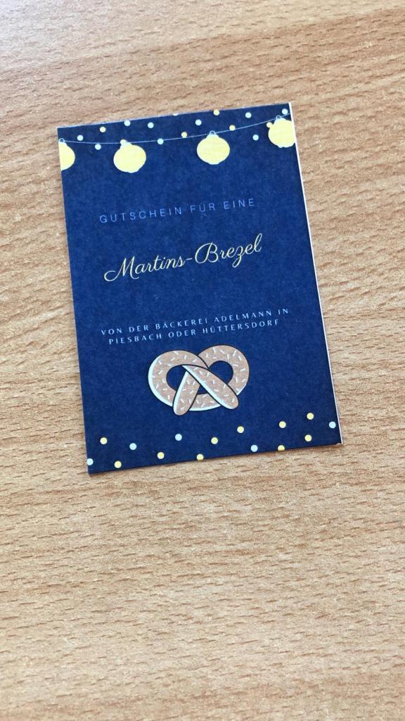Gutschein für eine Martins-Brezel von der Bäckerei Adelmann in Piesbach oder Hüttersdorf