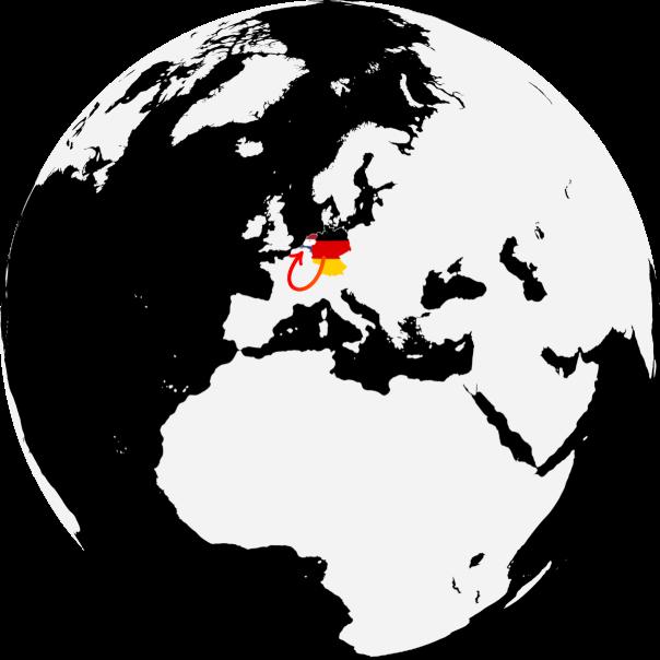 Globus mit Sicht auf Europa; ein Pfeil weist von Deutschland nach Rumänien