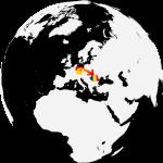 Globus mit Sicht auf Europa; ein Pfeil weist von Deutschland nach Litauen