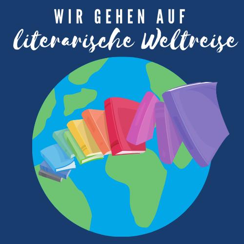 """Weltreise 2021 Logo: eine Weltkugel mit daran vorbeifliegenden bunten Büchern und einem Schriftzug """"Wir gehen auf literarische Weltreise"""""""