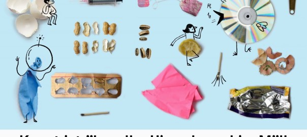 Assortment of trash objects, Illustrated by Adrija Ghosh and Canato Jimo, Photographs by Radha Rangarajan